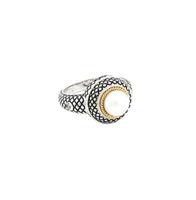 Fine Jewelry Fine Rings Andrea Candela 18k Yellow Gold & Sterling Silver Pearl Vintage Ring Acr279-p Relieving Rheumatism