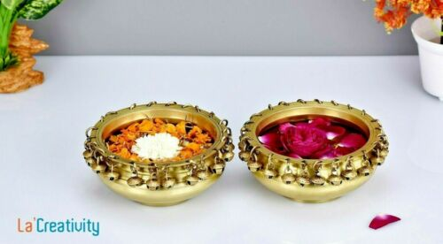 Brass Urli Pair Floating Flower Pot W Bells Decorative Ornament Diwali HomeDecor