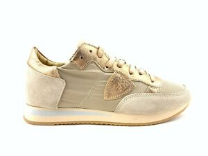 SCARPE-DONNA-35-SNEAKERS-PHILIPPE-MODEL-TROPEZ-BEIGE-ORO-MADE-IN-ITALY