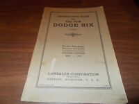 1936 Dodge Six Original Owner's Manual In Excellent Condition.