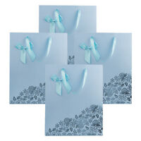 Aqua 4pcs Medium/small Paper Gift Bags With Bow Tie For Party Birthday Wedding
