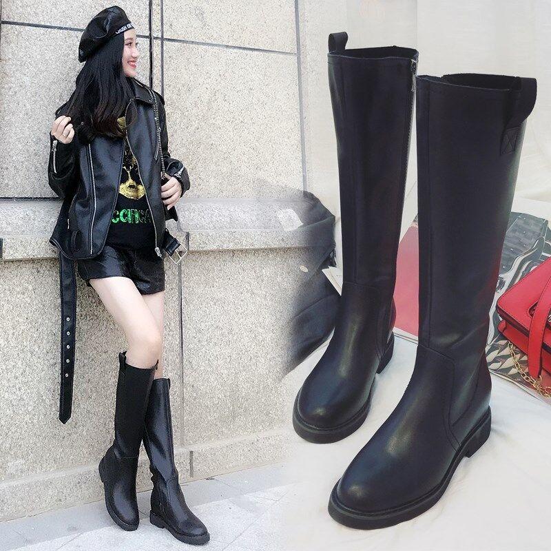 Luxury Wouomo Round Toe Knight Ridding Knee High Leather Flat Heel stivali scarpe