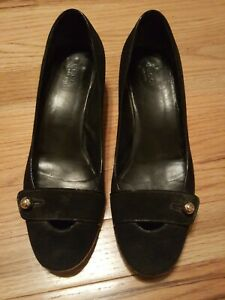 98e099708d7 Image is loading GUCCI-Black-Suede-Block-Heel-Womens-Size-9