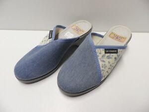 Modele-d-039-Expo-chaussures-LA-VAGUE-bleu-taille-35-mules-woman-shoes-chaussons