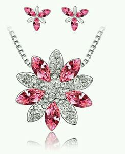 CRYSTAL NECKLACE AND EARRING SET PINK flower wedding birthday bridesmaids 0774 - Scunthorpe, United Kingdom - CRYSTAL NECKLACE AND EARRING SET PINK flower wedding birthday bridesmaids 0774 - Scunthorpe, United Kingdom