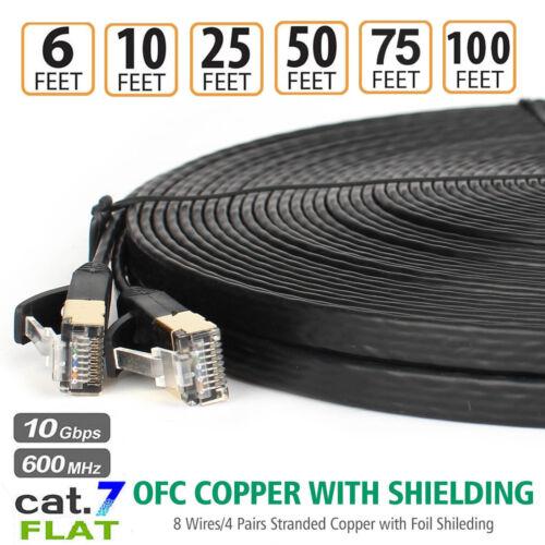 CAT7 Double Shielded 10Gigabit 600MHz EthernetPatch Cable for ModemRouterLAN lot