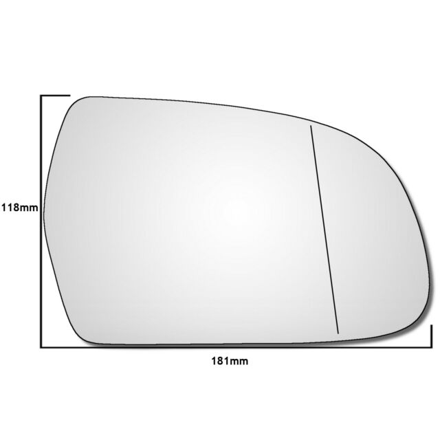 Right hand driver side for VW Scirocco 08-16 Wide Angle heated wing mirror glass