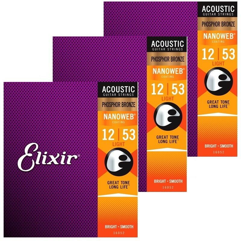 3 X Elixir Nanoweb 16052 Light Phosphor Bronze Acoustic Acoustic Acoustic Guitar Strings  12 - 53 7c001e