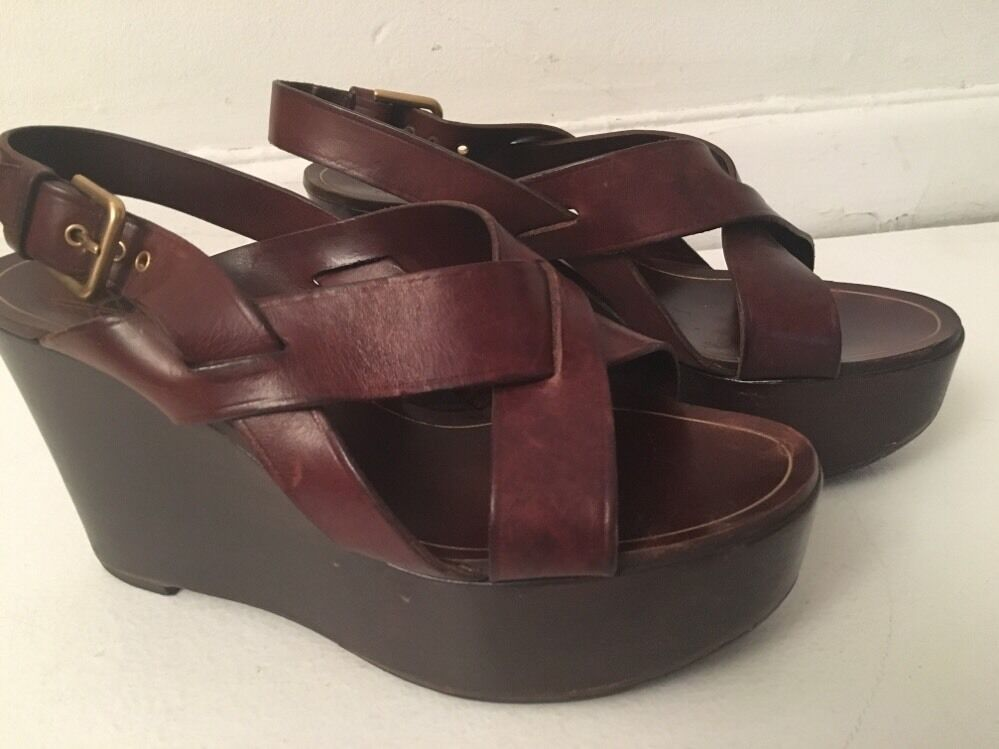 Auth YSL Brown Leather Wedge Sandals shoes Marked Sz 37 US  7.5 8