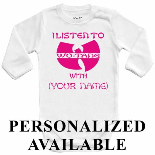 pink kids One jersey Top PERSONALIZED Baby bodysuit I LISTEN to WU-TANG with ..