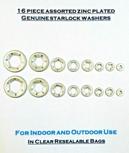 Starlock Washers Retaining Clips Zinc Plated  2 x 3,4,5,6,8,10,12/&16mm 16PCE
