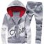 Black-Men-Sweater-Casual-Tracksuit-Sport-Suit-Jogging-Athletic-Jacket-Pants thumbnail 3