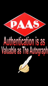 PAAS  Autograph Authentication Full C.O.A. Service/ Full Letter