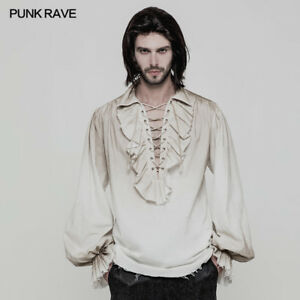 Punk-Rave-Steampunk-Gothic-White-Fashion-victorian-Men-039-s-T-Shirt-Tops-clothing