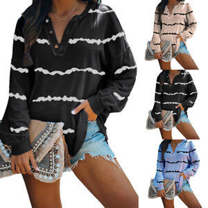 Women-Striped-T-Shirt-Blouse-Tee-Long-Sleeve-Casual-Loose-Pullover-Tunic-Tops