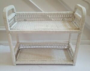 Vintage-White-Open-Wicker-Wood-Two-Shelf-Wall-Hanging-Shabby-Chic-A