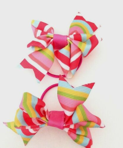 Handmade Candy Stripe Baby Girls Tiny Hair Bow Bobbles Sold In Pairs