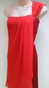 Karen Silk Red Millen Evening Uk Dress Cocktail 14 Drape Party rqUrf