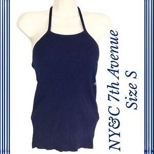 66537d36fd802 Details about New York   Company 7th Avenue Sze S Halter Top Bra Cami Tank  Blue Tie Neck A27-5