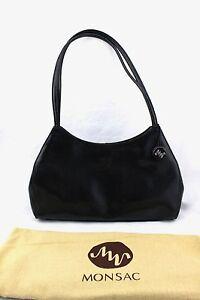 260-MONSAC-Original-Onyx-Black-Leather-Satchel-Shoulder-Bag-Purse