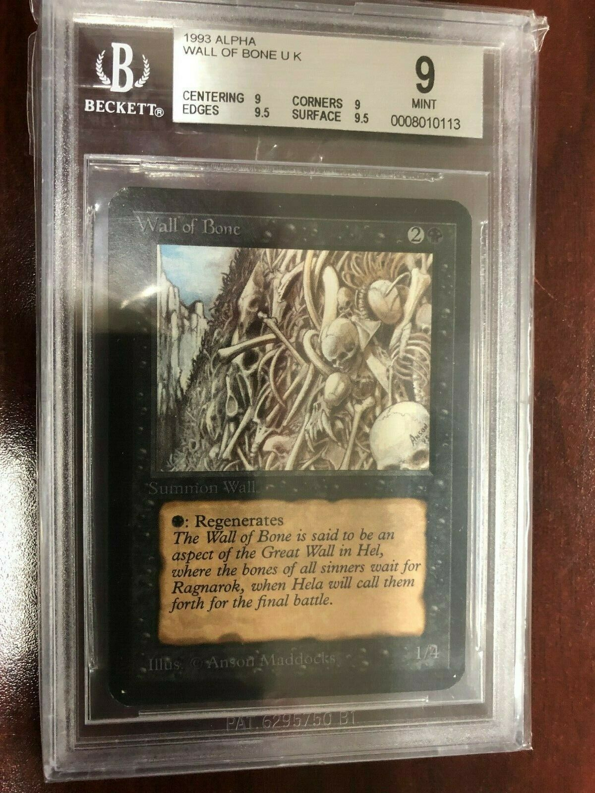 MTG Alpha Wall of Bone BGS Graded 9 Mint Mint Mint f75a42