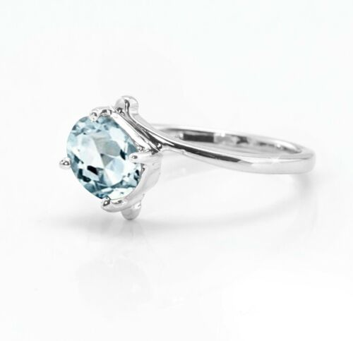 925 Sterling Silver Ring Naturel Bleu Aigue-marine Solitaire Taille 4-11