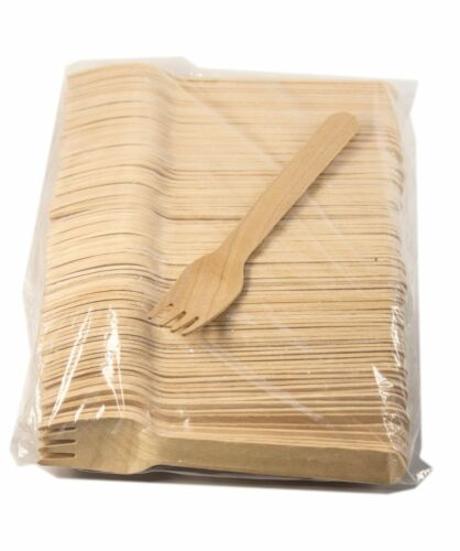 Disposable Wood Cutlery Silverware 50ct 200//100//50pcs New 16cm Wooden Forks