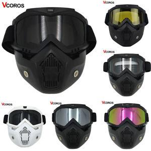 Motorcycle-Helmet-Paintball-Half-Face-Ghost-Mask-Detachable-Neoprene-Vintage-New
