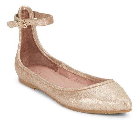 Joie Temple Metallic Ankle Wrap Flats gold Sz 38.5 or 8 NWOB Retail  245