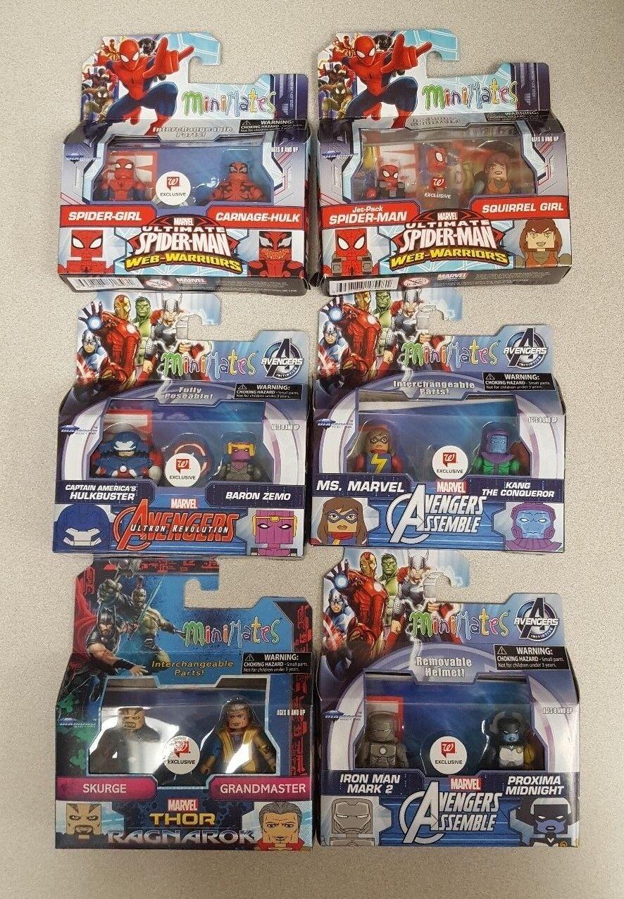 Minimates Marvel - Spideruomo,  Avengers, Thor -Walverdes Exclusive -Lot of 6-nuovo  presa di fabbrica