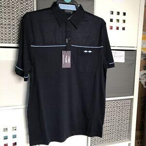 Men-039-s-Tom-Hagan-Golf-Polo-Shirts-Short-Sleeve-Top-Pocket-Navy-Poly-cotton