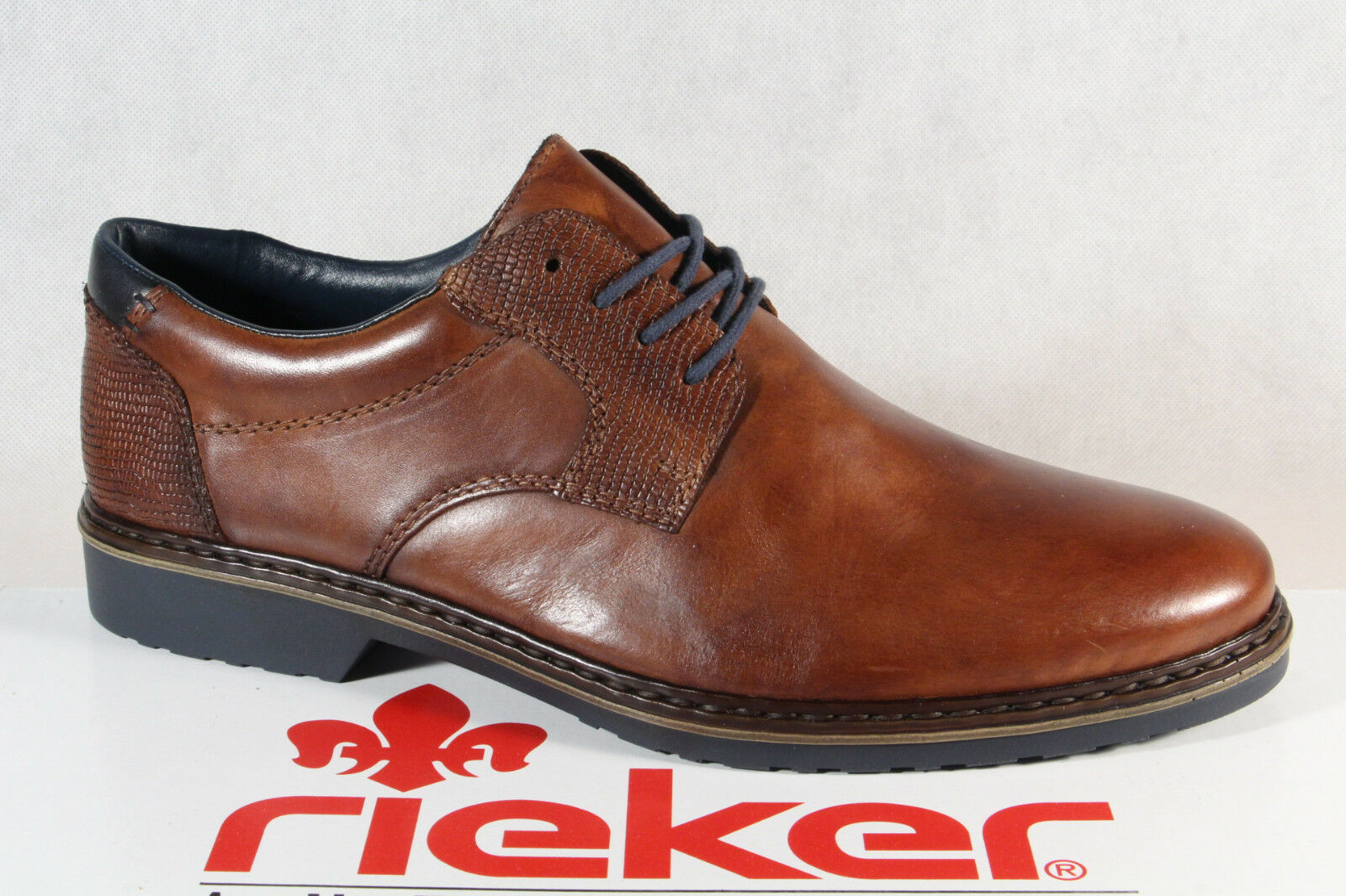 Rieker Slip on shoes Lace up Sneaker Brown Real Leather 16541 New