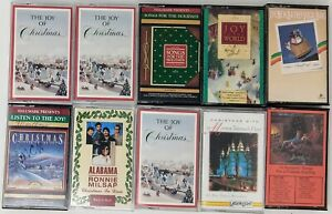 Lot-of-10-Christmas-Holiday-Music-Cassettes-Hallmark-Alabama-Readers-Digest-MORE