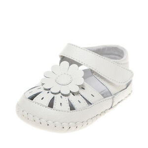 Baby-Girls-Infant-Toddler-Children-039-s-White-Real-Leather-Sandal-Christening-Shoes