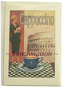 COLOSSEUM-Rome-Cappuccino-Coffee-Italian-Lady-Vintage-Art-Design-ITALY-MADE-CARD
