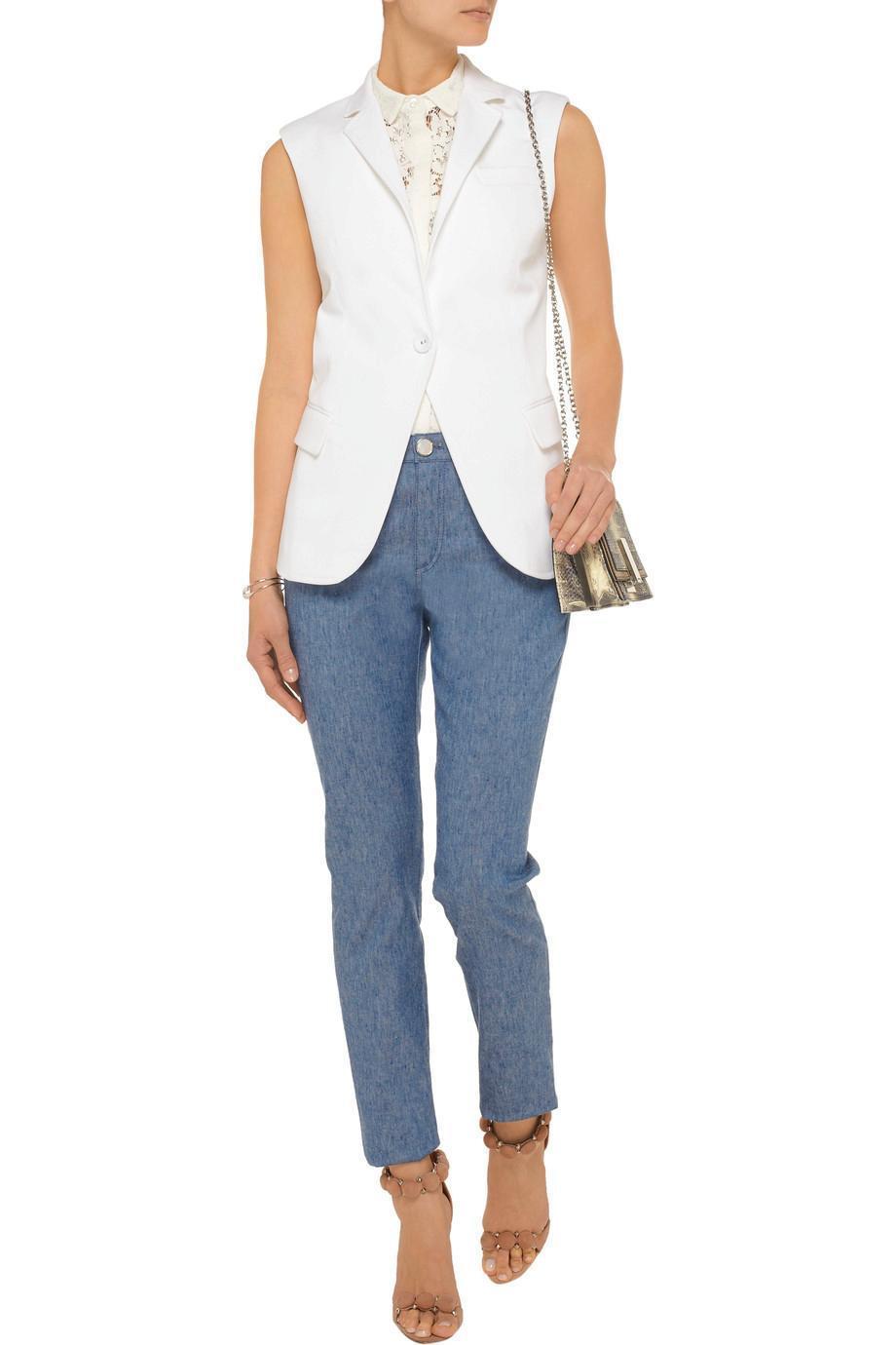 OSCAR DE LA RENTA Stretch linen and cotton-blend skinny jeans Sz 2 USA NEW