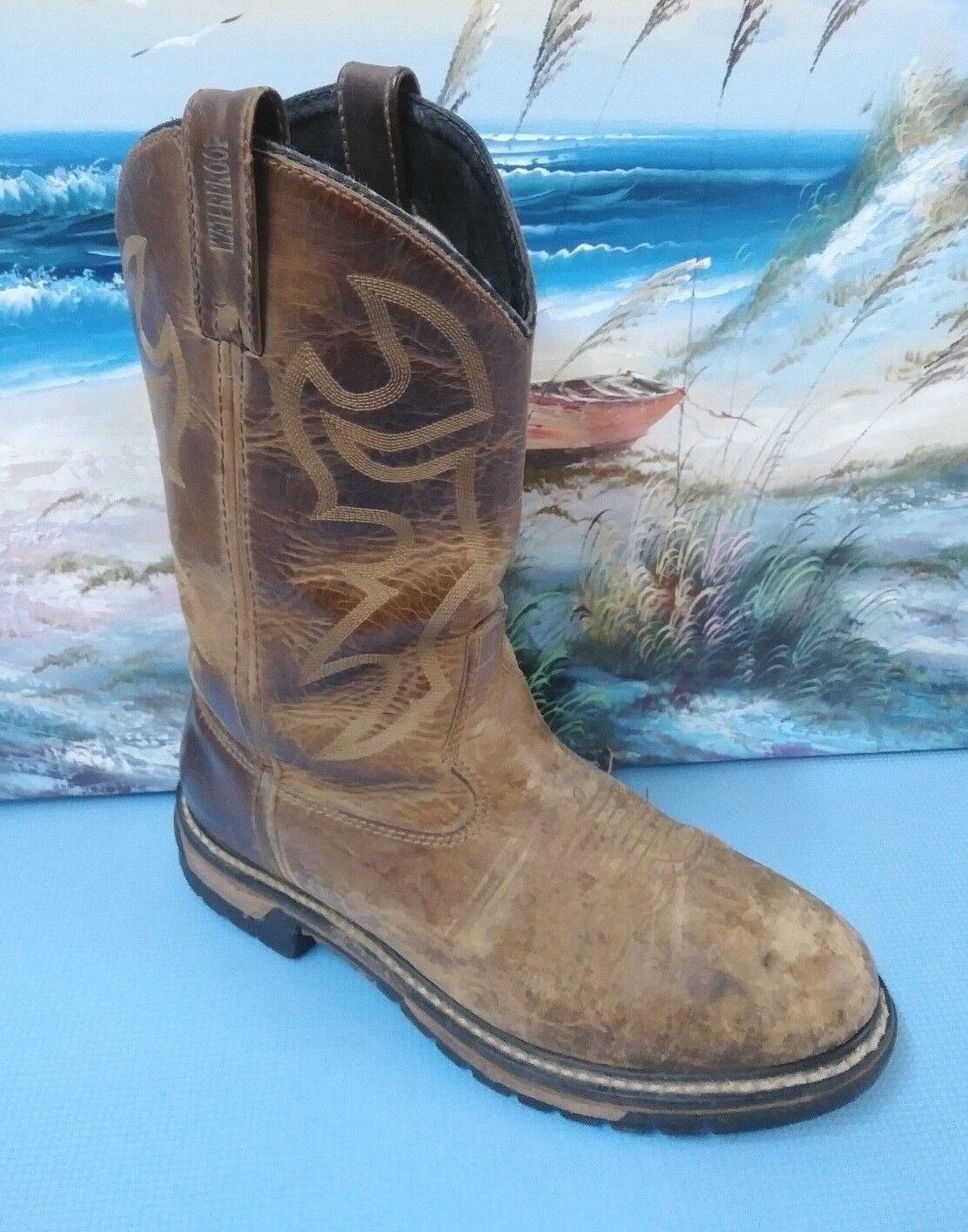 Rocky Ride Branson 2733 Pelle Round Toe Western Work Cowboy Stivali 11 M