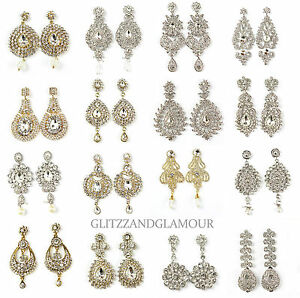 Long Diamante Crystal Vintage Style Drop Down Dangle Chandelier Earrings Ebay