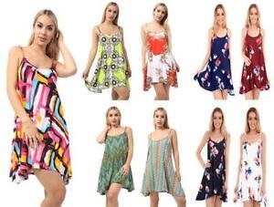 New Ladies Cami Flared Skater Womens Strappy Vest Top Swing Mini Dress UK 8-26