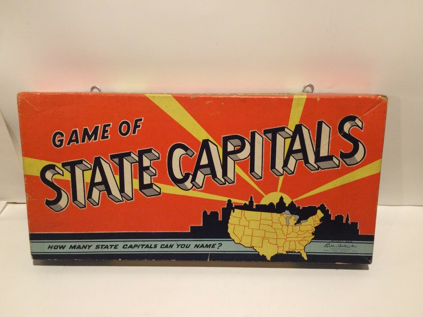 State Capitals Game Vintage 1952 Parker Bredhers Missing 4 Pieces + Bonus Game