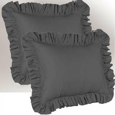 Set of 2 Square//Other Size Pillow Sham Pair 650 TC Cotton Solid in White N Black