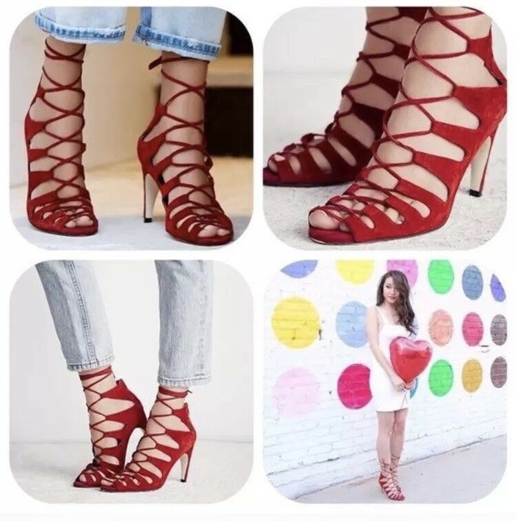 Jeffrey Campbell Free People Red Suede Lace-Up Sandals