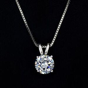 2 ct diamond round brilliant cut 14k gp solitaire pendant necklace image is loading 2 ct diamond round brilliant cut 14k gp mozeypictures Image collections