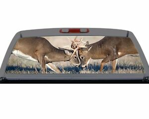 Deer Rut Buck Fighting Hunting Rack Rear Window Decal Truck SUV - Rear window hunting decals for trucks
