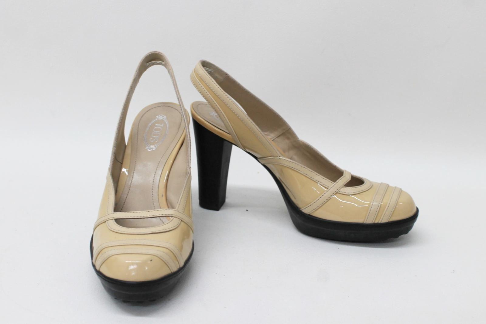 Tod'S Damas Beige Patent Tacón Zapatos Talla EU36.5 UK3.5 UK3.5 UK3.5 ESLINGA vuelta  connotación de lujo discreta