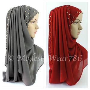 Chiffon-Maxi-Hijab-Scarf-Shawl-Wrap-Muslim-Islam-Headcover-Gold-Beads-170x70cm