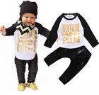Mode Bébé Garçon Tout-petit 2PCS Ensemble T-shirt+ Cuir Leggings Pantalon Tenues