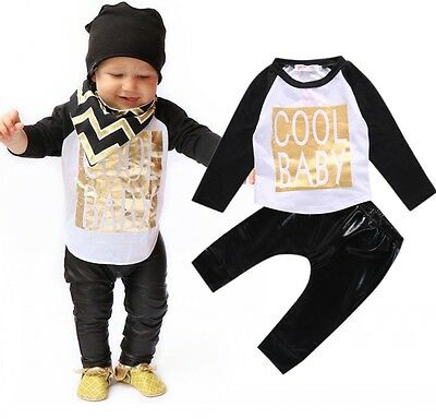 Toddler Baby Boy Clothing Set Print T-shirt+ Leather Pants Leggings Outfits Suit