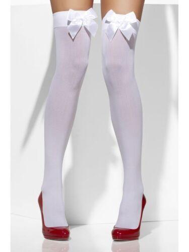 Smiffy/'s Fever White Stockings w// WHITE Bow Ladies Hen Fancy Dress Accessory