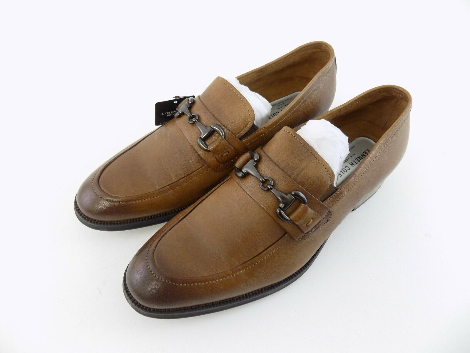 Kenneth Cole New York Brock Size 10.5M Cognac Leather Slip-On Men's Loafers